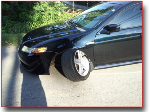 acura with damaged wheel hub